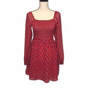 AVEC LES FILLES Juliet Red Toucan Bird Mini Dress